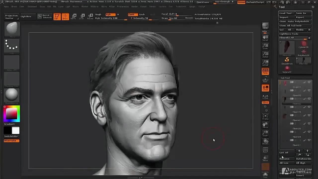 zbrush雕刻乔治·克鲁尼肖像视频教学