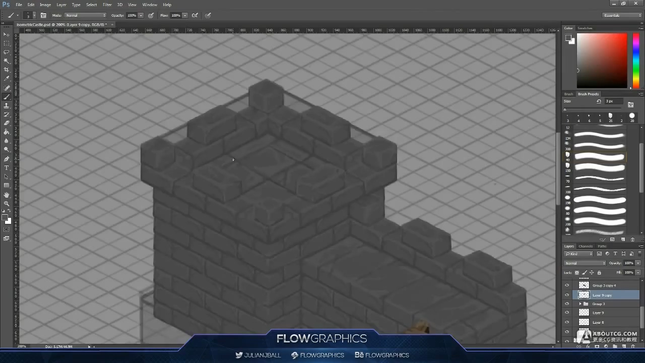 Isometric Castle - Photoshop Hand Painted Speed-art - Flow Graphics.mp4_20150615_103403.188