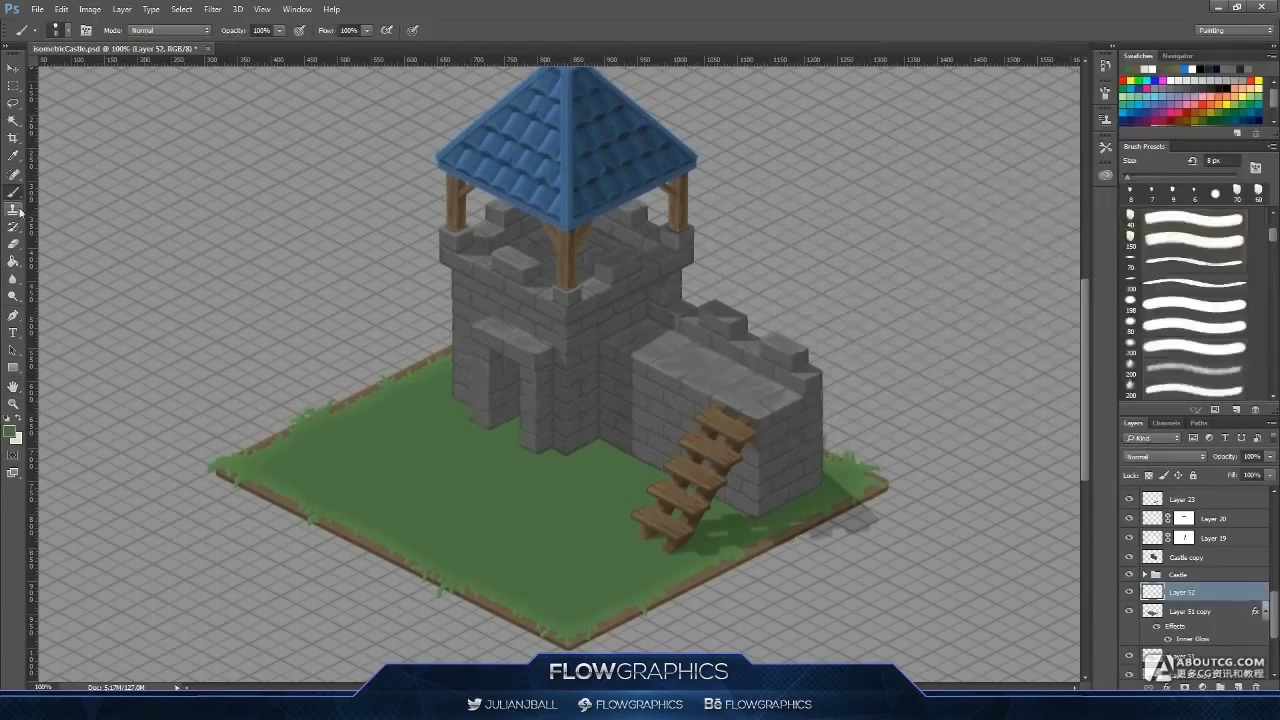 Isometric Castle - Photoshop Hand Painted Speed-art - Flow Graphics.mp4_20150615_103418.023