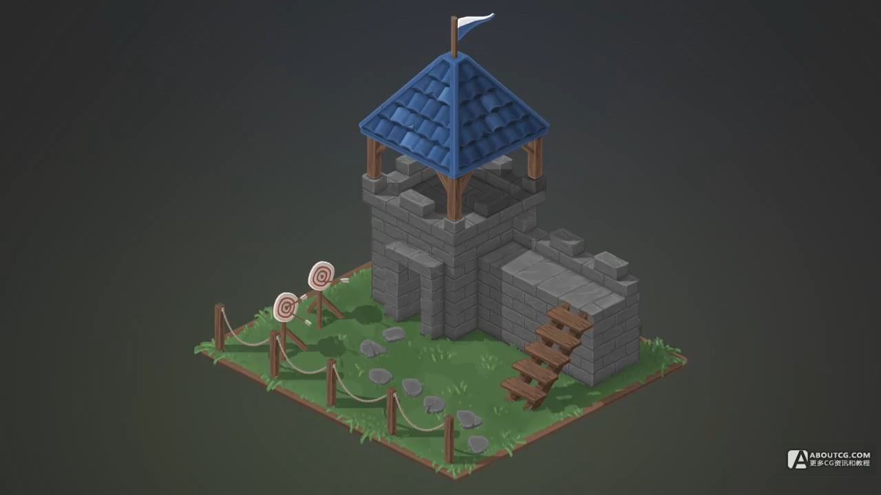 Isometric Castle - Photoshop Hand Painted Speed-art - Flow Graphics.mp4_20150615_103428.257